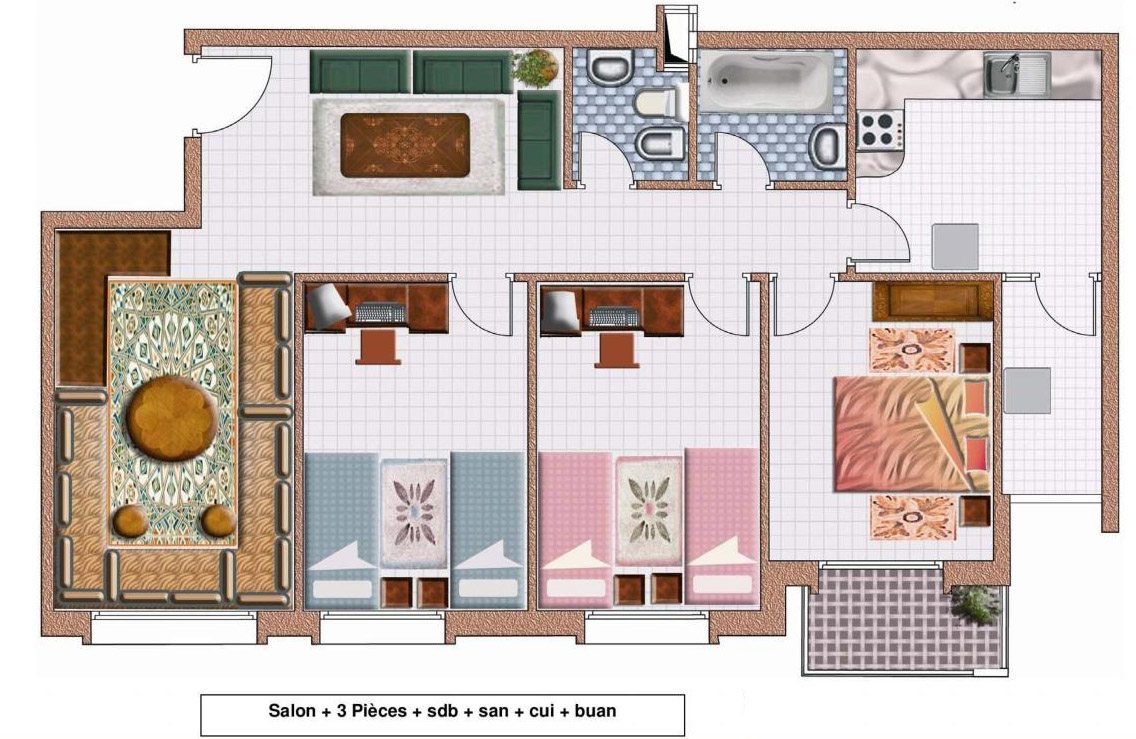 plan appartement moyen standing